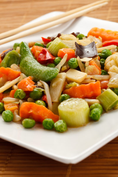 A plate of vegan stir fry