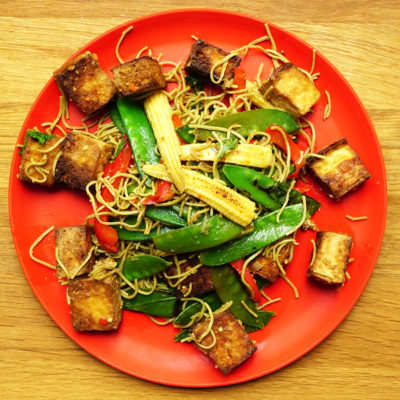 sweet and sour tofu with edamame noodles