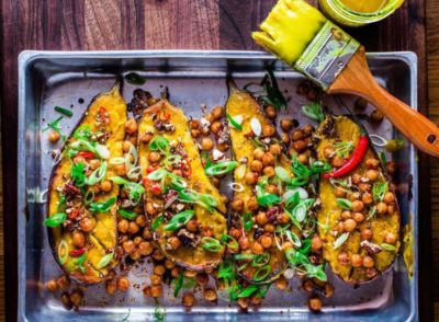 Vegan Miso-Glazed Eggplant with Spicy Chickpeas and Ninja Nuts