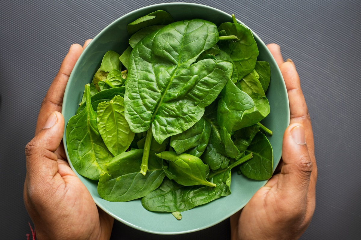 Unidentified person holding a bowl of raw spinach - a key source of iron for vegans