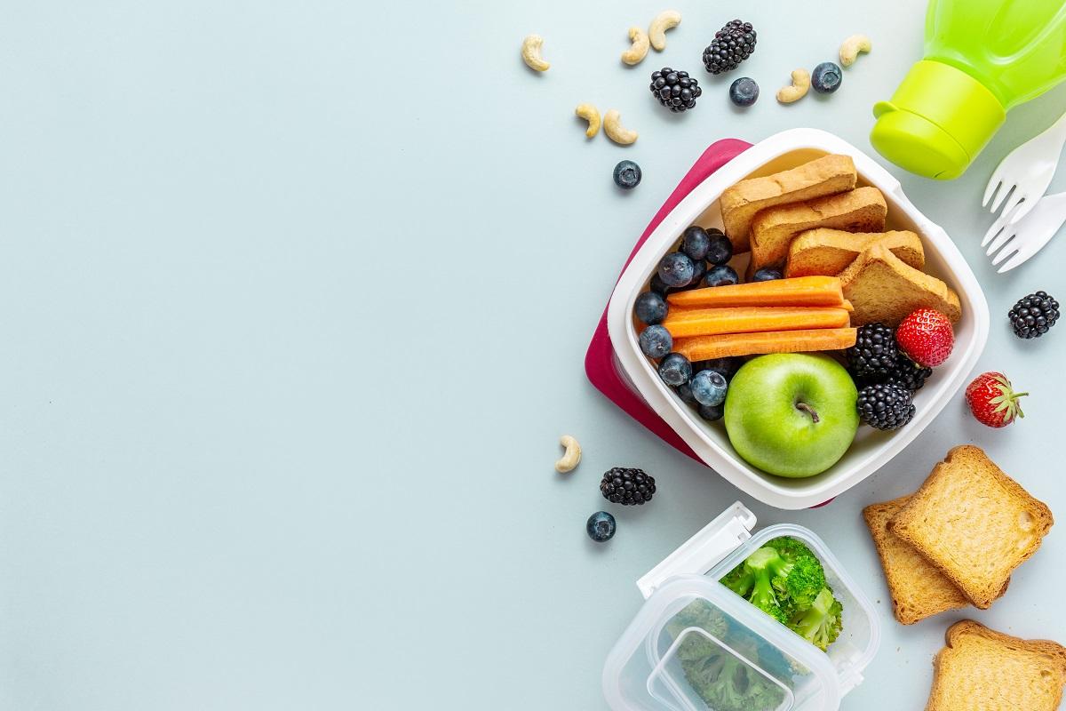 Healthy vegan kids packed lunch