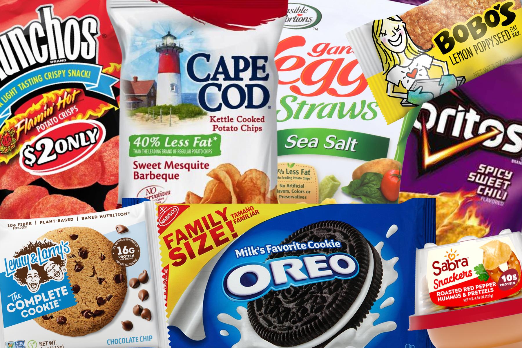Vegan gas station tips image shows vegan snacks including Bobo's oat bar, Munchos Flamin' Hot Potato Crisps, and Cape Cod Sweet Mesquite Barbeque Chips